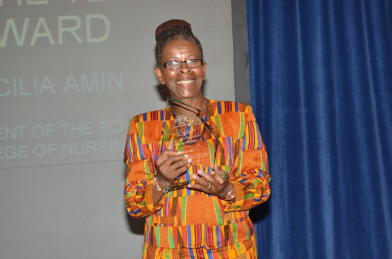 Cecilia Anim, President of the Royal College of Nursing, with her Keep The Faith Woman of the Year award